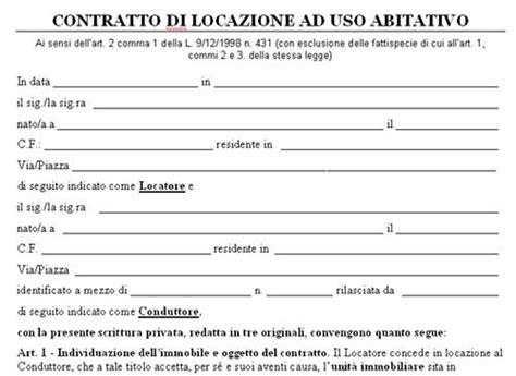 modulo per contratto affitto appartamento ammobiliato esempio contratto di locazione transitorio lettera43 it