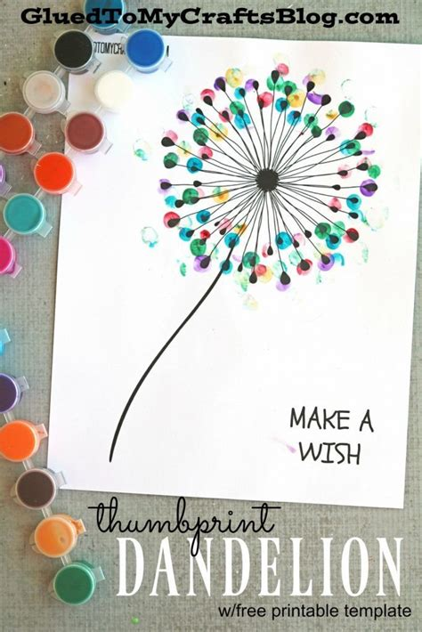 thumb print cards craft by free template thumbprint dandelion kid craft w free printable
