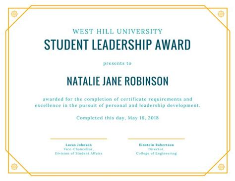 certificate design for leadership yellow student leadership award certificate templates by