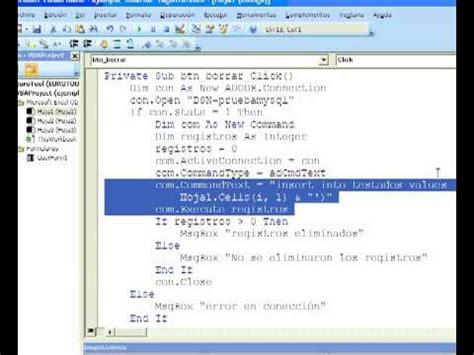 tutorial excel mysql tutorial vba ms excel 2007 insertar varios registros en mysql