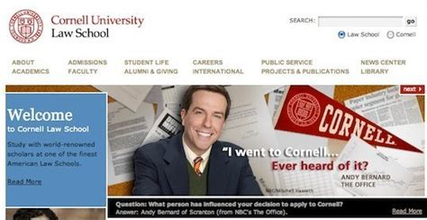 ed helms eyebrows cornell law touts office character as famous grad huffpost