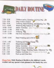 Child Care Daily Routine Template by Letter From Sutherland Council