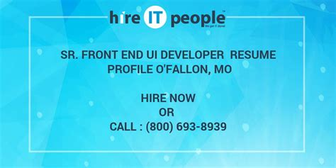 User Interface And Resume And Java Script And Not by Sr Front End Ui Developer Resume Profile O Fallon Mo