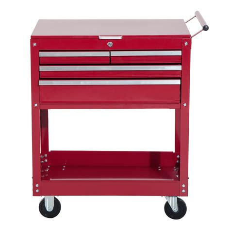 4 drawer rolling tool cart homcom 4 drawer top storage rolling tool chest cart red