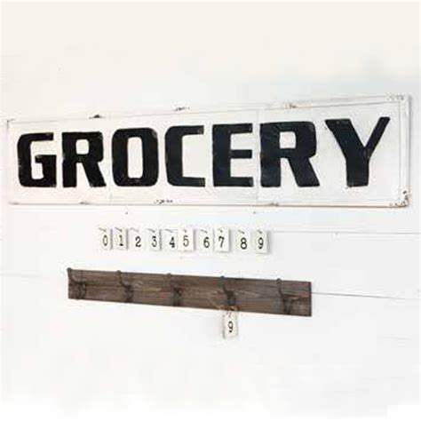 Metal Canisters Kitchen park hill collection metal grocery sign fh6108