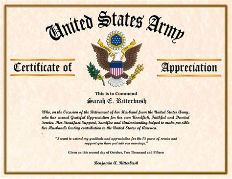 navy retirement certificate template and family certificate of appreciation
