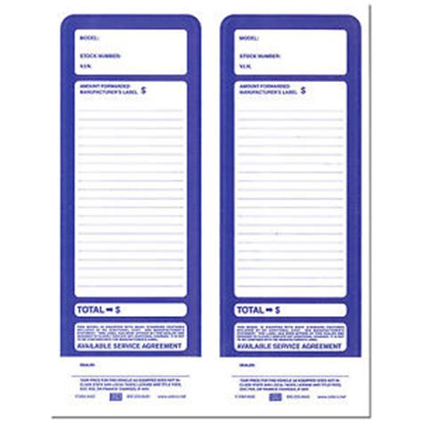 Blank Vehicle Addendum Stickers Blue Pack Of 100 Ebay Vehicle Window Sticker Template