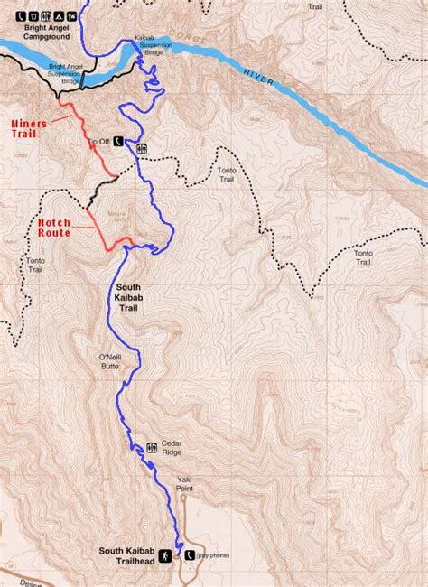 grand map south kaibab trail and dave s south kaibab variation photo page