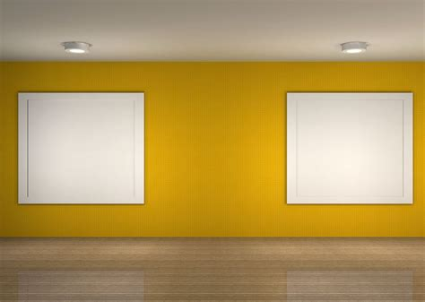 yellow walls living room yellow sofa background wall night rendering