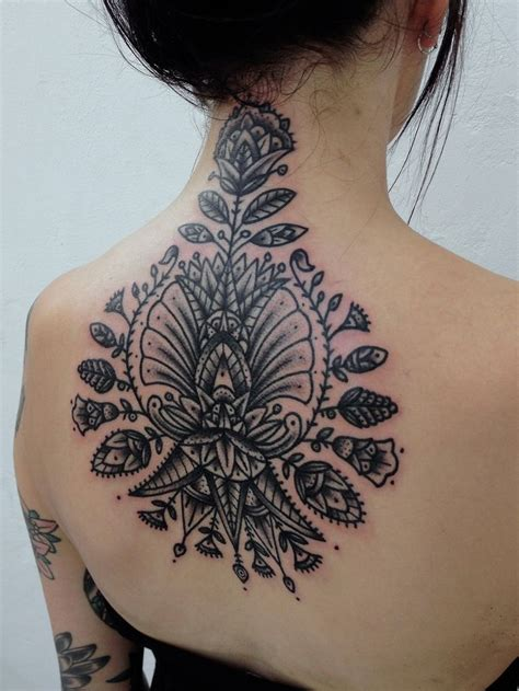 tattoo designs back neck amazing floral back and neck tattoo best tattoo ideas