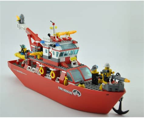 lego boat with engine model building kits compatible with lego city boat 598 3d