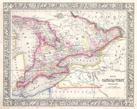 map of canada west map of canada west in counties geographicus antique