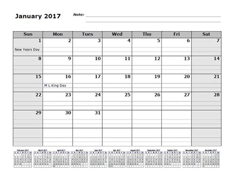 Calendar 2017 Monthly Template 2017 Monthly Calendar Template With 12 Months References