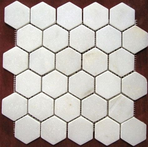 mosaic hexagon pattern 2x2 white tumbled hexagon pattern mesh mounted marble