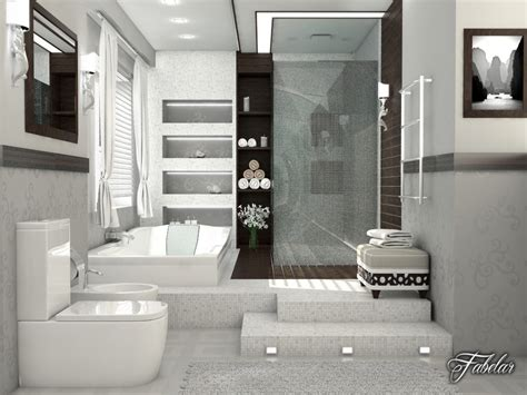 bedroom scene 03 3d model max 3ds c4d bathroom scene 3d max