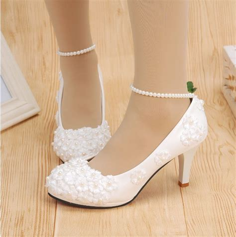 white lace high heels white lace wedding shoes pearls ankle trap bridal