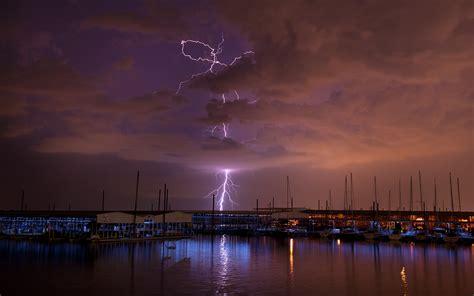 Lightning Storm Clouds Night Boats Harbor wallpaper ... E Boats