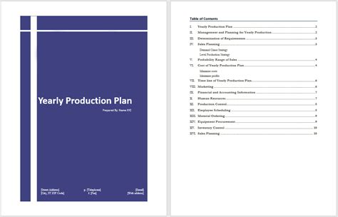 manufacturing business plan template yearly production plan template microsoft word templates