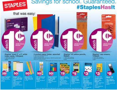 staples back to school deals for the week of august 25 31