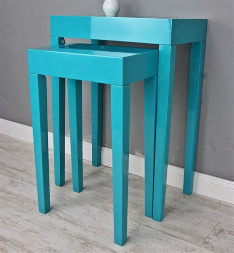 Holz Lackieren Klavierlack by Set 2x Beistelltisch T 252 Rkis Tisch Blau Hochglanz