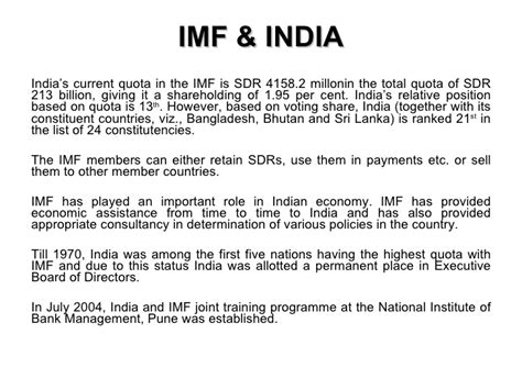 Imf Notes For Mba by Imf And India By Siddharth Singh