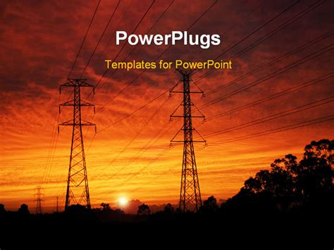 Powerpoint Template Electrical Pylons At Dawn 23717 Electrical Ppt Templates Free