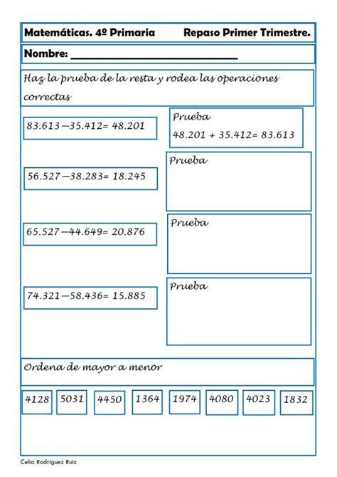 matematicas cuarto de primaria ejercicios recursos para el aula matem 225 ticas para cuarto de primaria