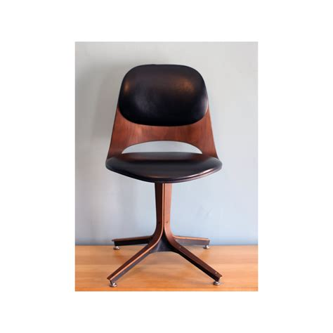 wood and leather swivel desk chair black leather and brown wooden mid century modern swivel