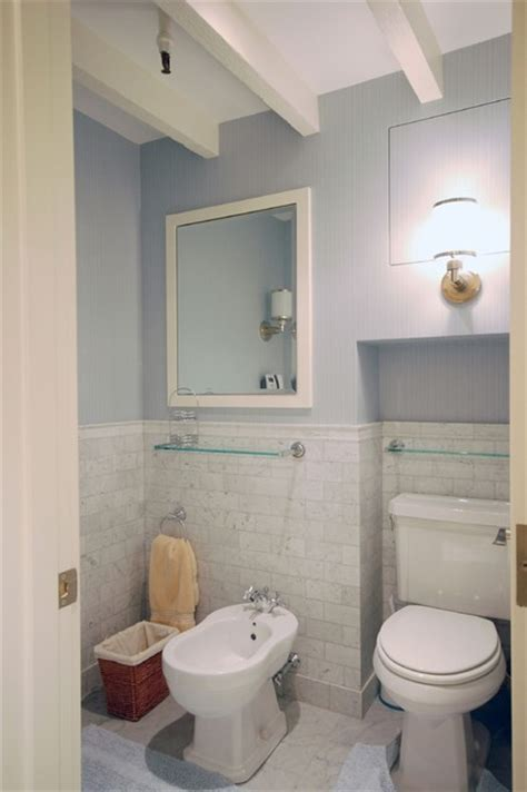 wainscot tile contemporary bathroom