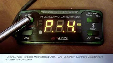 Meter Rsm apexi rev speed meter in racing green bench tests 100
