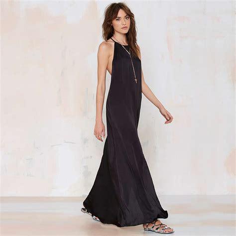 Termurah L 821 Black Halterneck Dress flowy vintage blackless maxi dress on luulla