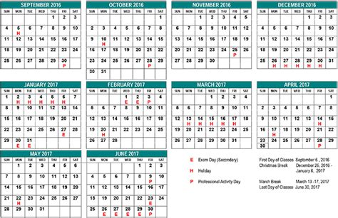 printable yearly school calendar image gallery 2016 2017 school year