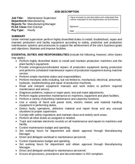 9 Maintenance Job Description Sles Sle Templates Maintenance Description Template