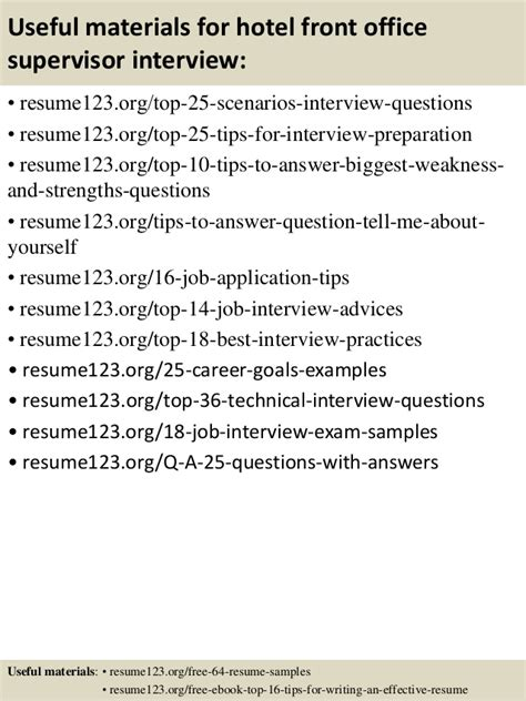 hotel front office supervisor resume sle top 8 hotel front office supervisor resume sles