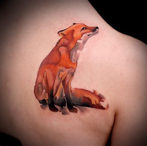 watercolor fox shoulder piece best tattoo design ideas