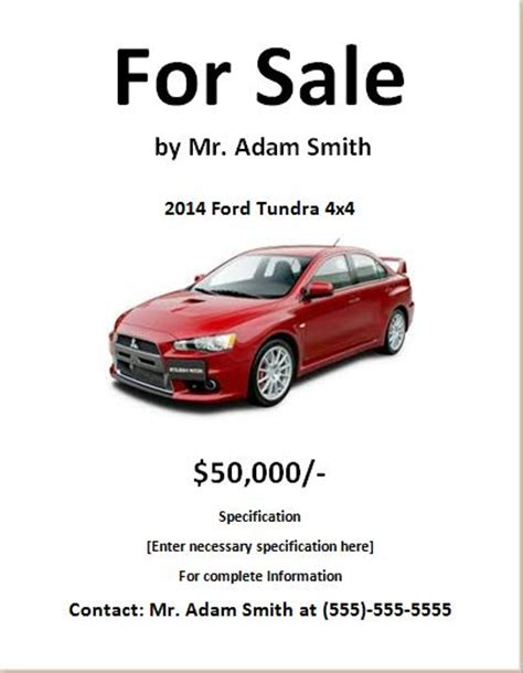 car for sale template car for sale flyers template images