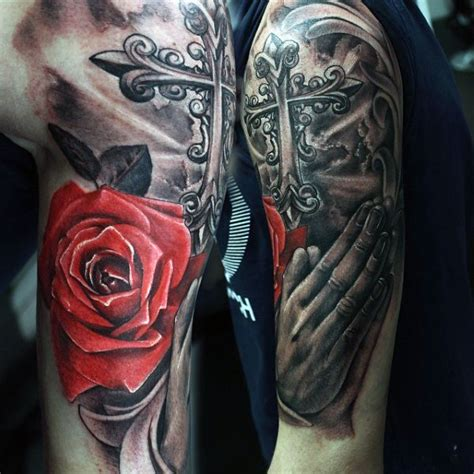 praying hands tattoo with roses 70 praying designs for silence the mind
