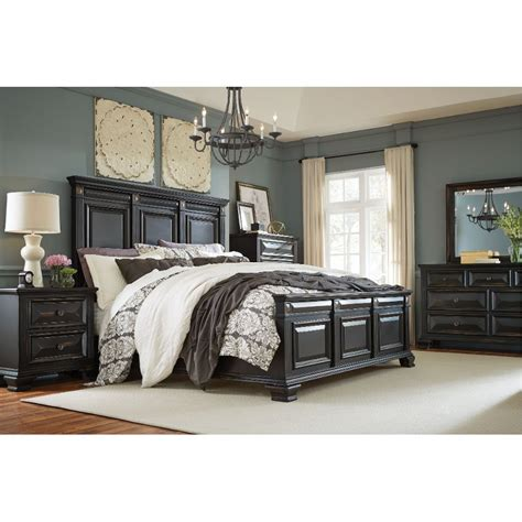 black traditional  piece queen bedroom set passages