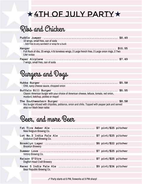 4th Of July Menu Template menu templates from imenupro more than just