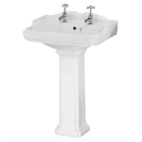 bathroom wash basin taps traditional white ceramic bathroom wash basin sink pedestal 2 tap holes ebay