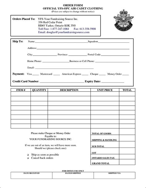 forms templates creating clothing order form template free besttemplates123