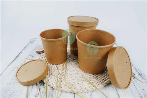 Food Grade Brown Kraft Paper Bowl Lid Paper Bowl Coklat 8oz 240ml disposable brown kraft paper soup cups soup bowls stock sizes