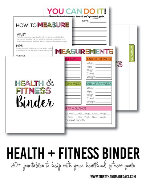 printable health journal fitness health binder binder printing and fitness binder