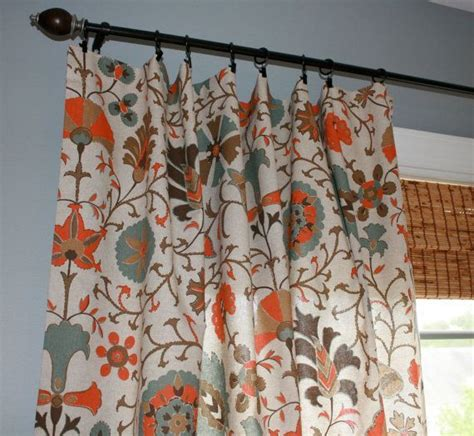 Aqua And Orange Curtains Circle Curtain Panels In Orange And Blue Suzani Designer Curtain Panel Oatmeal Turquoise