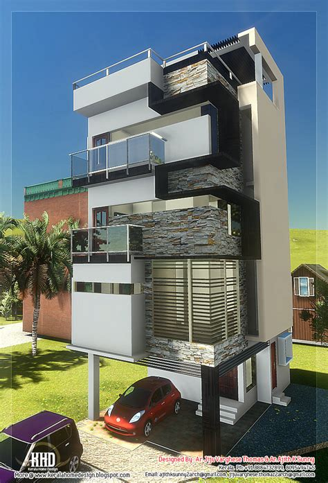 skinny house 3 floor contemporary narrow home design kerala home