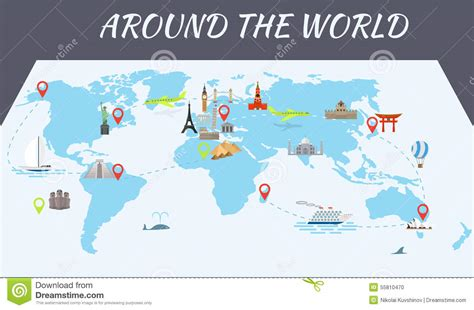 map of with landmarks world landmarks icons on the map stock vector