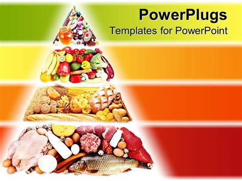 Powerpoint Template Food Pyramid Containing Foods For A Healthy Diet With Various Food Types On Food Powerpoint Templates