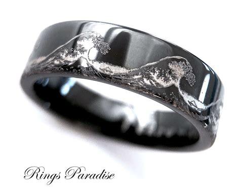 mens wedding bands ocean ring wave ring mens black