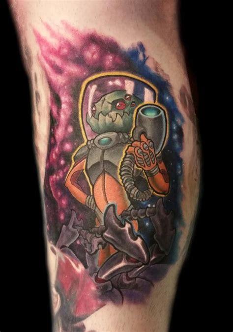 New School Alien Tattoo   new school space alien by shane baker tattoonow