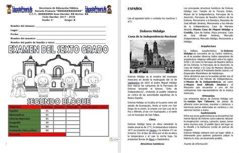 preguntas de historia bloque 2 sexto grado examen del sexto grado para el segundo bloque del ciclo